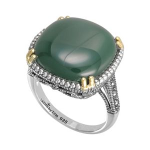 Lavish by TJM 14k Gold Over Silver and Sterling Silver Agate Ring - Made with Swarovski Marcasite