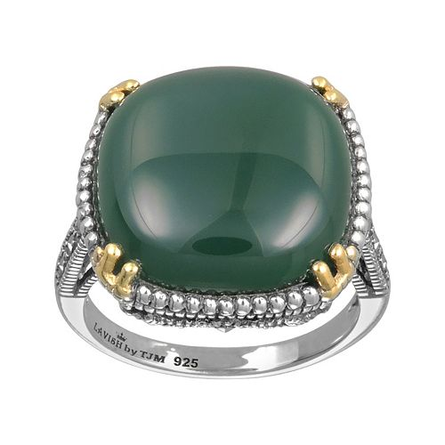 Lavish by TJM 14k Gold Over Silver & Sterling Silver Agate Ring - Made with Swarovski Marcasite
