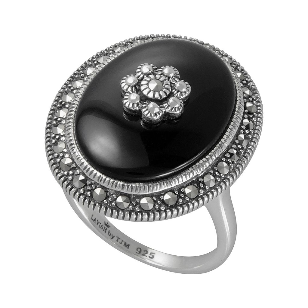 Lavish by TJM Sterling Silver Onyx Flower Ring - Made with Swarovski Marcasite