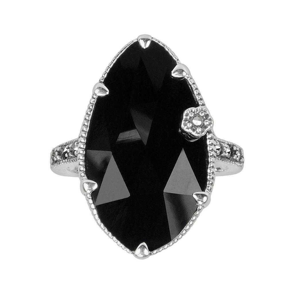 Lavish by TJM Sterling Silver Onyx Flower Ring - Made with Swarovski Marcasite