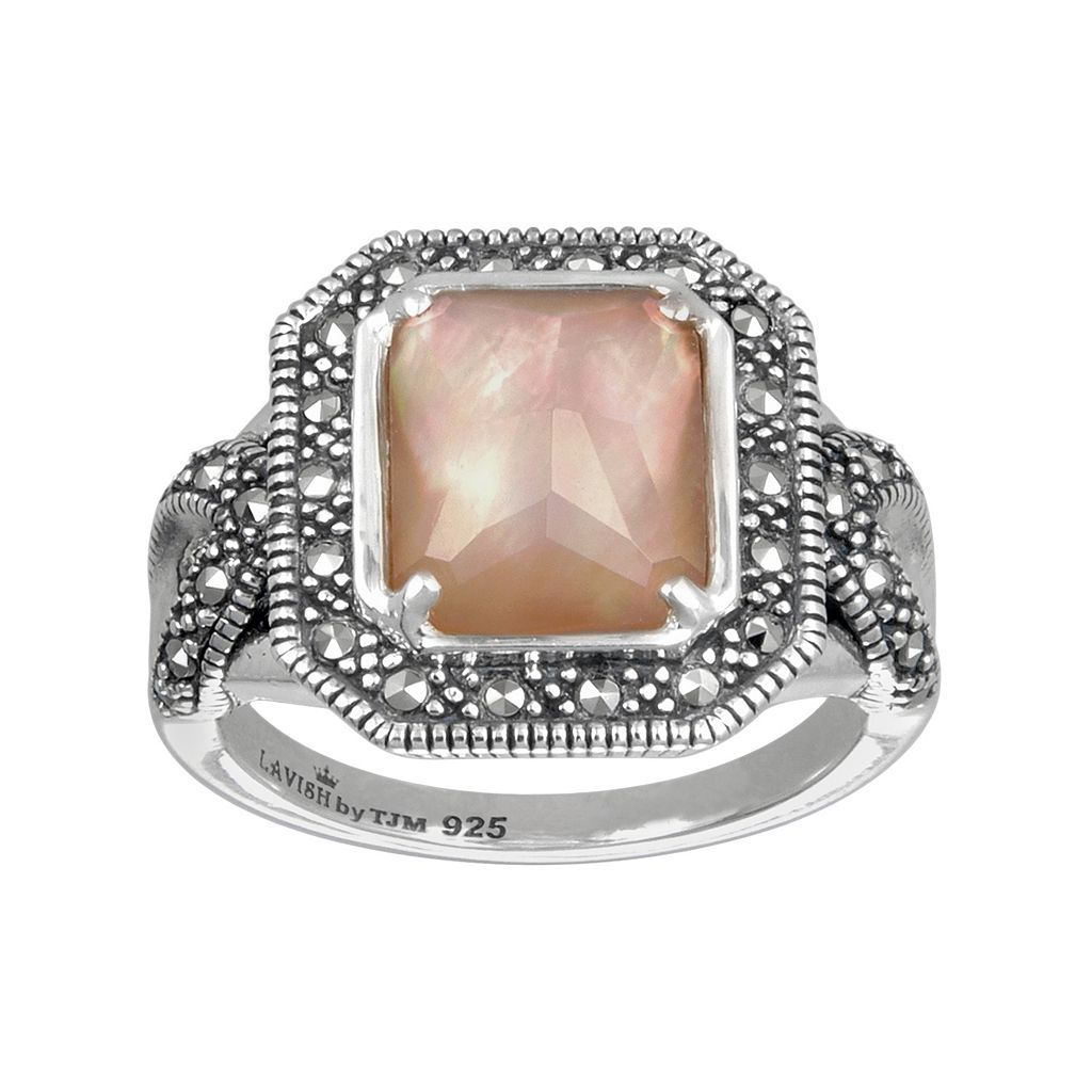 Lavish by TJM Sterling Silver Mother-of-Pearl & Crystal Doublet Ring - Made with Swarovski Marcasite