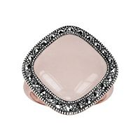 Lavish by TJM 14k Rose Gold Over Silver & Sterling Silver Rose Quartz Ring - Made with Swarovski Marcasite