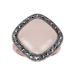 Lavish by TJM 14k Rose Gold Over Silver and Sterling Silver Rose Quartz Ring - Made with Swarovski Marcasite