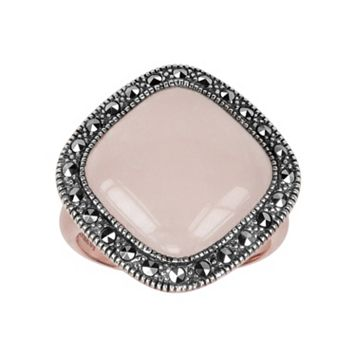 Lavish by TJM 14k Rose Gold Over Silver & Sterling Silver Rose Quartz Ring - Made with Swarovski Marcasite