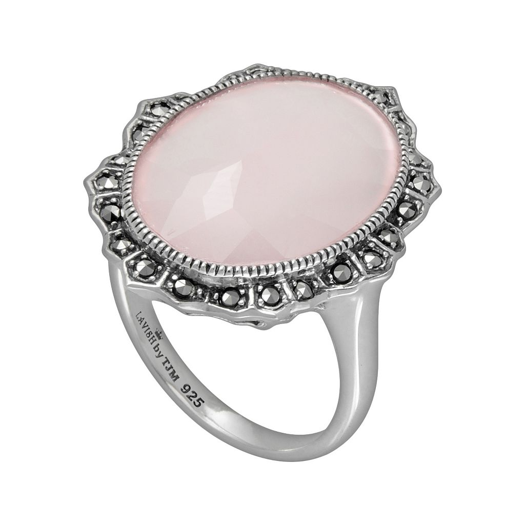 Lavish by TJM Sterling Silver Pink Chalcedony Ring - Made with Swarovski Marcasite