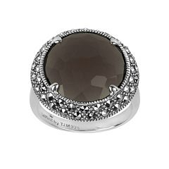Lavish by TJM Sterling Silver Smoky Quartz Ring - Made with Swarovski Marcasite