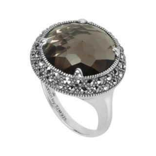 Lavish by TJM Sterling Silver Smoky Quartz Ring - Made with Swarovski Marcasite