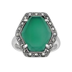 Lavish by TJM Sterling Silver Green Chalcedony Ring - Made with Swarovski Marcasite