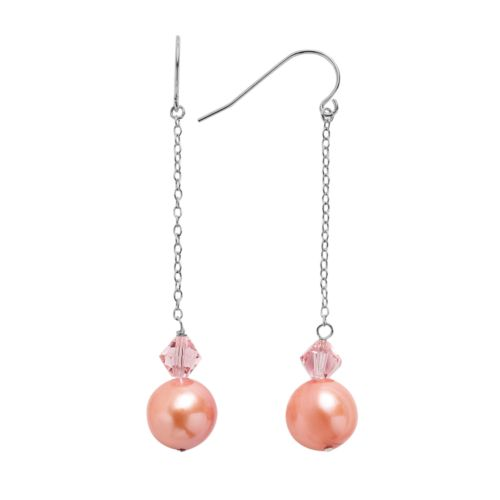 Freshwater by HONORA Sterling Silver Dyed Freshwater Cultured Pearl and Crystal Linear Drop Earrings