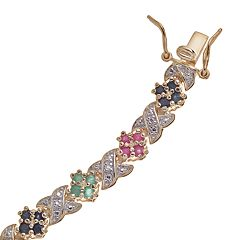 18k Gold-Over-Silver Multigemstone Bracelet