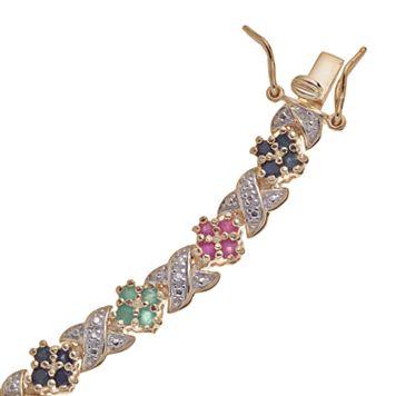 18k Gold-Over-Silver Multigemstone Bracelet