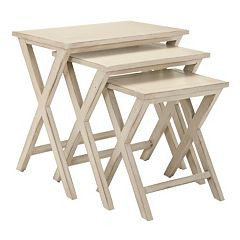 Safavieh Maryann 3 pc Stacking Tray Table Set