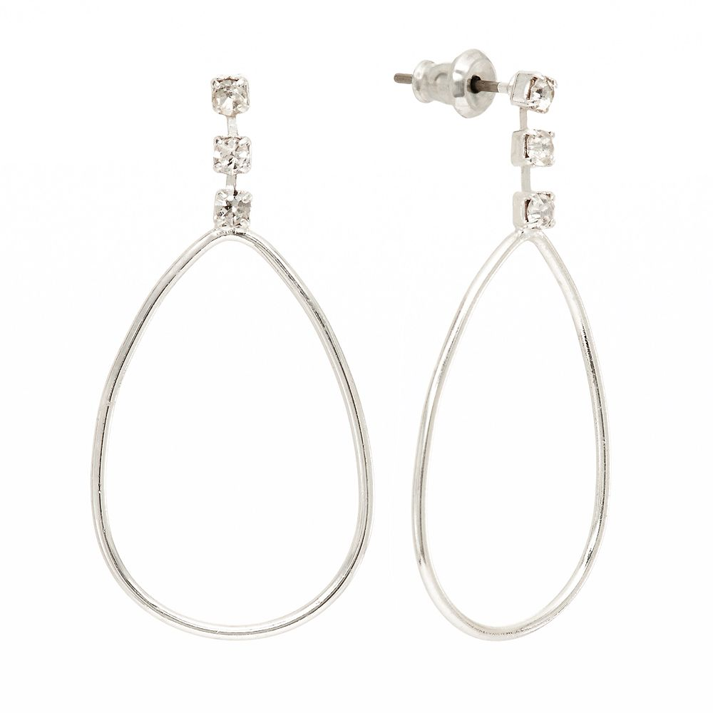 LC Lauren Conrad Silver Tone Simulated Crystal Teardrop Earrings