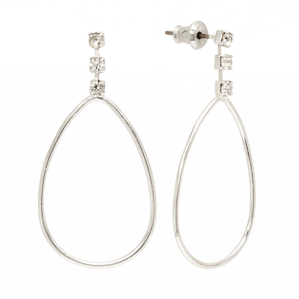 LC Lauren Conrad Silver Tone Simulated Crystal Teardrop Earrings