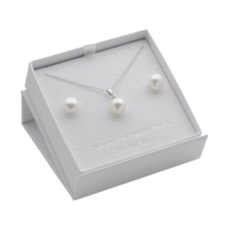 Sterling Silver Freshwater Cultured Pearl Pendant and Stud Earring Set