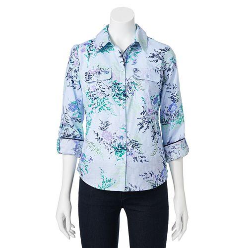2b3560c6c45862 Petite Croft   Barrow® Floral Roll-Tab Shirt