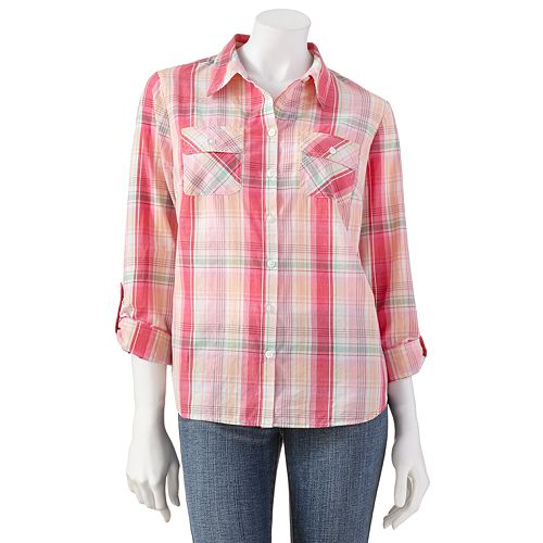 df1e51a5a659f1 Petite Croft   Barrow® Plaid Roll-Tab Shirt