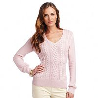 Women's Chaps Lurex Cable-Knit Sweater