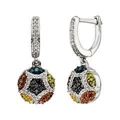 Sterling Silver Seven-Tone 1/2 ctT.W. Diamond Cluster Drop Earrings