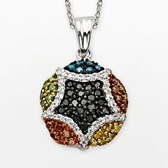 Sterling Silver Seven-Tone 1/2-ct. T.W. Diamond Cluster Pendant