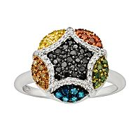 Sterling Silver Seven-Tone 1/2 ctT.W. Diamond Cluster Ring