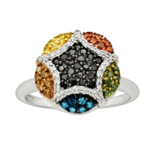 Sterling Silver Seven-Tone 1/2-ct. T.W. Diamond Cluster Ring