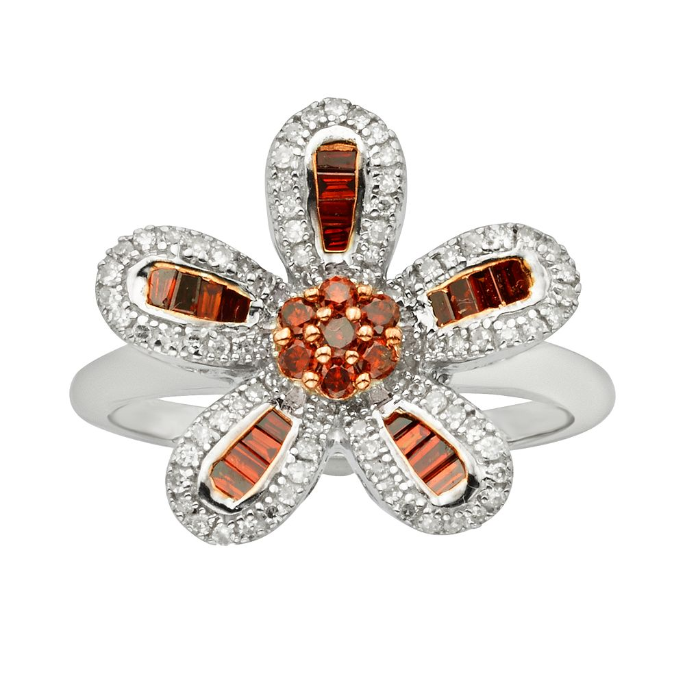 Sterling Silver 1/2-ct. T.W. Red & White Diamond Flower Ring