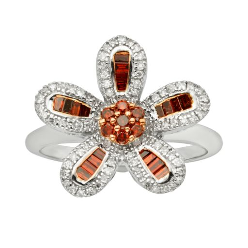 Sterling Silver 1/2-ct. T.W. Red and White Diamond Flower Ring