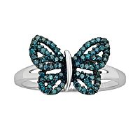 Sterling Silver Two-Tone 1/4 ctT.W. Blue Diamond Butterfly Ring