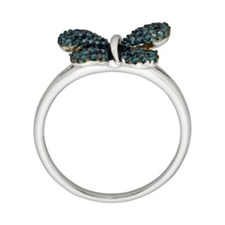 Sterling Silver Two-Tone 1/4-ct. T.W. Blue Diamond Butterfly Ring