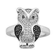 Sterling Silver Two-Tone 1/4 ctT.W. Black & White Diamond Owl Ring