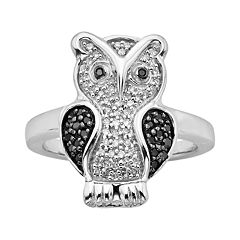 Sterling Silver Two-Tone 1/4 ctT.W. Black & White Diamond Owl Ring