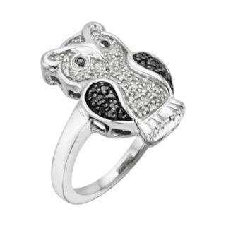Sterling Silver Two-Tone 1/4-ct. T.W. Black and White Diamond Owl Ring