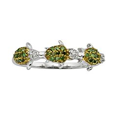Sterling Silver Two-Tone 1/4-ct. T.W. Green & White Diamond Turtle Ring
