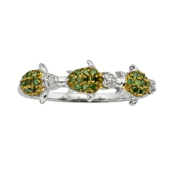 Sterling Silver Two-Tone 1/4-ct. T.W. Green and White Diamond Turtle Ring