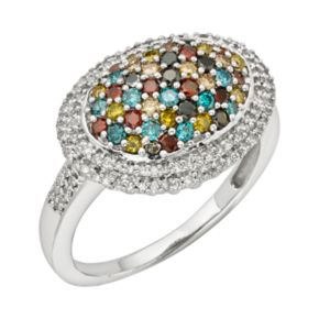 Sterling Silver 1-ct. T.W. Diamond Oval Dome Ring