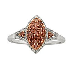 Sterling Silver Two-Tone 1/2 ctT.W. Red & White Diamond Marquise Ring