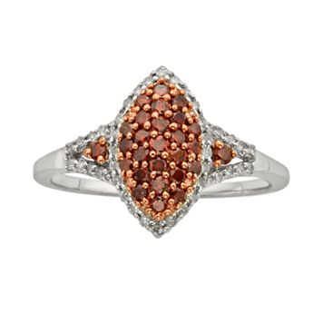 Sterling Silver Two-Tone 1/2-ct. T.W. Red & White Diamond Marquise Ring