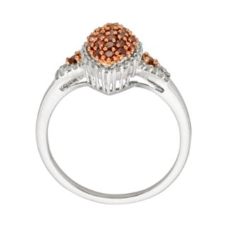 Sterling Silver Two-Tone 1/2-ct. T.W. Red and White Diamond Marquise Ring