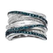 Sterling Silver Two-Tone 1/2-ct. T.W. Blue & White Diamond Orbit Ring