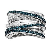 Sterling Silver Two-Tone 1/2 ctT.W. Blue & White Diamond Orbit Ring