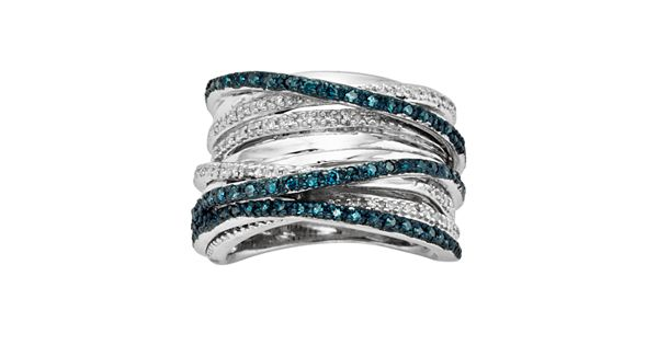 Diamond Rings For Sale Kohls: Sterling Silver Two-Tone 1/2-ct. T.W. Blue And White