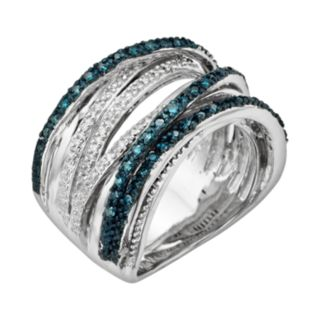 Sterling Silver Two-Tone 1/2-ct. T.W. Blue and White Diamond Orbit Ring
