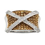 Sterling Silver Two-Tone 1-ct. T.W. Champagne & White Diamond X Ring