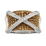 Sterling Silver Two-Tone 1 ctT.W. Champagne & White Diamond X Ring