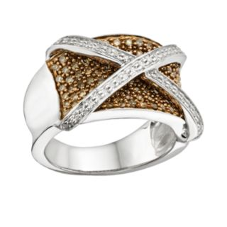 Sterling Silver Two-Tone 1-ct. T.W. Champagne and White Diamond X Ring