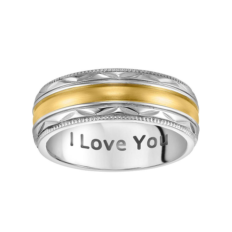"Men's Cherish Always Stainless Steel Two Tone ""I Love You"" Wedding Band"