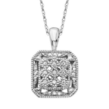 Simply Vera Vera Wang Sterling Silver Diamond Accent Openwork Octagon Pendant