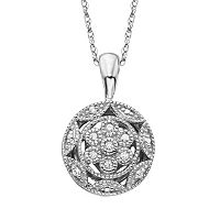 Simply Vera Vera Wang Sterling Silver Diamond Accent Openwork Circle Pendant
