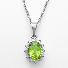 Sterling Silver Peridot Diamond Accent Pendant